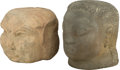 Fine Art - Sculpture, American, José De Creeft (American, 1884-1982). Bust and FacetedFace (two works). Stone. Ht. 13 x 8-1/2 x 11-1/2 in.. PROPE...(Total: 2 Items)