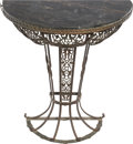 Furniture , Art Deco Wrought Iron and Marble-Topped Console Table, 20th century. Ht. 30-3/8 x 28-7/8 x 14-3/4 in.. PROPERTY FROM THE E... (Total: 2 Items)
