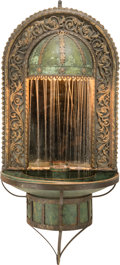 Decorative Arts, Continental, An American Wrought Iron, Bronze, and Copper Mirrored CourtyardFountain in the Manner of Oscar Bach. 20th century. Ht. 57 x...