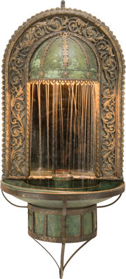 An American Wrought Iron, Bronze, and Copper Mirrored Courtyard Fountain in the Manner of Oscar Bach 20th century&lt...