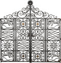 Decorative Arts, French, Pair of Painted Wrought Iron Gates in the Manner of GilbertPoillerat. 20th century. Ht. 88-1/2 x 84-1/2 x 1-1/2 in. (overal...(Total: 2 Items)