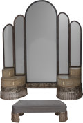 Other, Art Deco Silvered Wood Wall-Mounted Vanity and Stool. 20th century. Ht. 77-1/4 x 57-1/2 x 13-3/4 in.. PROPERTY FROM THE ES... (Total: 2 Items)