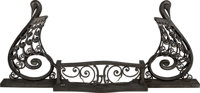 Art Deco Wrought Iron Fireplace Fender with Swan Motif Early 20th century. Ht. 26-1/8 x 60-1/4 x 9-1/2 in
