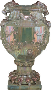 Monumental Continental Lustreware Jardinière on Pedestal attributed to Clement Massier 20th century. Ht. approx...
