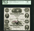 Obsoletes By State:Massachusetts, Grafton, MA- Grafton Bank $2-$20 Aug. 1, 1854 Uncut Proof Pair. ...