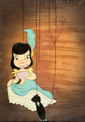 Animation Art:Production Cel, Pinocchio Can-Can Dancer Production Cel Courvoisier Setup(Walt Disney, 1940). ...