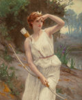 , Guillaume Seignac (French, 1870-1924). Diana. Oil on canvas.22 x 18 inches (55.9 x 45.7 cm). Signed lower left: G. Se...