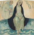 Fine Art - Painting, European:Modern  (1900 1949)  , Anto Carte (Belgian, 1886-1954). The Annunciation, 1923.Graphite and watercolor on paper on linen. 29-1/2 x 29-1/2 inch...