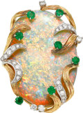 Estate Jewelry:Rings, Opal, Emerald, Diamond, Gold Ring. ...