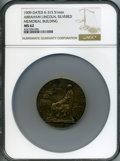 Lincoln, 1909 Abraham Lincoln Memorial Building MS62 NGC. King-315,Cunningham-11-500Ls. Silvered lead, 51mm....