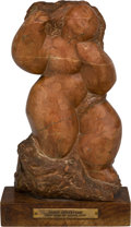 Fine Art - Sculpture, American, Lorrie Goulet (American, b. 1925). Female Nude, 20thcentury. Red Marble. Ht. 12-1/4 x 7 x 3-3/4 in.. Signed versoLor...