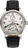 Timepieces:Wristwatch, D. Dornbluth & Sohn Q-2010 Auf & Ab Stainless SteelWristwatch No. 50. ...