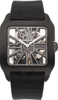 Timepieces:Wristwatch, Cartier Santos-Dumont XL Skeleton ADLC-coated Titanium WristwatchNo. 177. ...