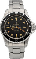 Timepieces:Wristwatch, Rolex Ref. 5513 Rare Submariner Gilt Underline Dial, Meters First,Pointed Crown Guard, circa 1963. ...