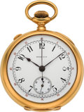 Timepieces:Pocket (post 1900), Tiffany & Co. 18K Gold Split Second Pocket Watch. ...