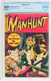 Manhunt #14 (Magazine Enterprises, 1953) CBCS GD/VG 3.0 Off-white to white pages