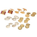 Estate Jewelry:Cufflinks, Synthetic Stone, Gold Cuff Links. ... (Total: 7 Items)