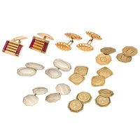 Synthetic Stone, Gold Cuff Links