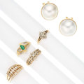 Estate Jewelry:Lots, Diamond, Emerald, Mabe Pearl, Gold Jewelry. ... (Total: 5 Items)