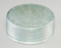 Art Glass:Lalique, R. Lalique Frosted Glass Gui Box with Green Patina. Circa1920. Molded R. LALIQUE . M p. 234, No. 65. Di. 4 ...