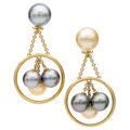 Estate Jewelry:Earrings, South Sea Cultured Pearl, Gold Earrings, Assael. ...
