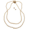 Estate Jewelry:Lots, Cultured Pearl, Gold Jewelry. ... (Total: 2 Items)