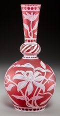 Art Glass:Webb, A Stevens & Williams Red Cameo Glass Vase carved by J.Millward, circa 1890. Marks: STEVENS & WILLIAMS LTD ,J. Millwa...