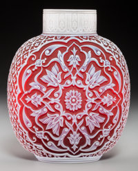 A Thomas Webb & Sons Red Cameo Glass 1889 Paris Exposition Vase, designed by George and Thomas Woodall, Stourbridge...
