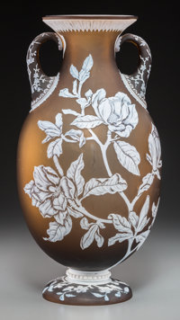 A Thomas Webb & Sons Amber Cameo Glass 1889 Paris Exposition Vase, designed by George and Thomas Woodall