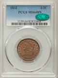 Half Cents: , 1832 1/2 C MS64 Brown PCGS. CAC. PCGS Population: (50/8). NGC Census: (21/10). CDN: $575 Whsle. Bid for problem-free NGC/PC...
