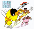 "Animation Art:Presentation Cel, Fat Albert and the Cosby Kids ""The Brown Hornet"" Publicity Cel (Filmation, 1980s) ..."