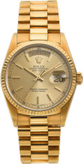 Timepieces:Pocket (post 1900), Rolex Gold Oyster Perpetual Day-Date President Ref. 18038, circa1984. ...