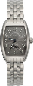 Timepieces:Wristwatch, Franck Muller Lady's Unused Ref. 1750 S6 Steel Tonneau Watch. ...