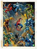 Original Comic Art:Miscellaneous, Mark Bagley and Paul Mounts Amazing Spider-Man Trading Card9-Card Block Oversized Hand-Colored Production Color G...