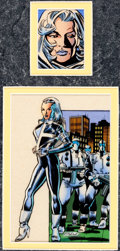 Original Comic Art:Miscellaneous, Ron Frenz and Paul Mounts Marvel Trading Cards Series 3 Card#65 Silver Sable Color Production Original Art (Impel...