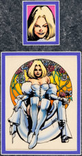 Original Comic Art:Miscellaneous, Mike Harris and Paul Mounts Marvel Trading Cards Series 3Card #123 The White Queen Color Production Original Art ...