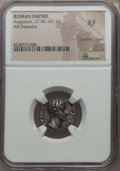 Ancients:Roman Imperial, Ancients: Augustus (27 BC-AD 14). AR denarius. NGC XF, bankersmark....