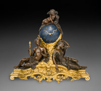 A Monumental French Beaux Arts Patinated and Gilt Bronze Figural Mantle Clock, circa 1870 Marks to mechanism: R