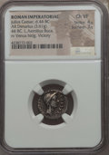 Ancients:Roman Imperial, Ancients: Julius Caesar, as Dictator (49-44 BC). AR denarius (3.61gm). NGC Choice VF 4/5 - 3/5....