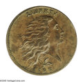 1793 1C Wreath Cent--Vine and Bars--AU55 PCGS. S-6, R.3. Die State V, delicate die crack from obverse rim at 1:30. An im...