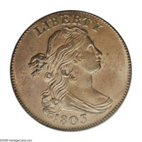 1803 1C 100/000 MS64 Brown PCGS. S-249, R.2. BDS IV. A distinctive variety; not only does Sheldon-249 have an obvious co...