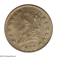 1812 1C Large Date MS64 Brown PCGS. S-289, R.1. Die State II, multiple sets of clash marks (as struck) visible on the re...