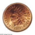 Indian Cents: , 1871 1C MS66 Red PCGS. Since 1857, the mint had been redeeming Half Cents and Large Cents and melting them for recoinage in...