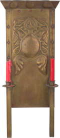 Ceramics & Porcelain, Continental:Modern  (1900 1949)  , English Arts and Crafts Brass Two Light Sconce. Early 20th century. Ht. 27-5/8 in.. PROPERTY FROM THE COLLECTION OF BILL L...