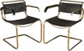 Furniture , Pair of Marcel Breuer Chrome-Plated Steel and Leather Model B32 Armchairs. Circa 1940. Ht. 29-1/2 x 21 x 22-1/2 ... (Total: 2 Items)