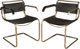 Pair of Marcel Breuer Chrome-Plated Steel and Leather Model B32 Armchairs Circa 1940. Ht. 29-1/2 x 21 x 22-1/2 ... (Tota...