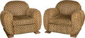 Furniture , A Pair of Art Deco Upholstered Oak Armchairs. First half 20th century. Ht. 33 x 36-1/2 x 34-1/2 in.. PROPERTY FROM THE EST... (Total: 2 Items)