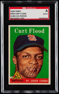 Autographs:Sports Cards, Signed 1958 Topps Curt Flood #464 SGC Authentic....