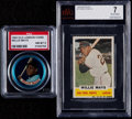 Baseball Cards:Lots, 1960 Bazooka & 1965 Old London Coins Willie Mays Graded Pair(2)....