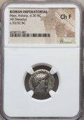 Ancients:Roman Imperial, Ancients: Marc Antony, as Imperator and Triumvir (43-31 BC). ARdenarius. NGC Choice Fine....